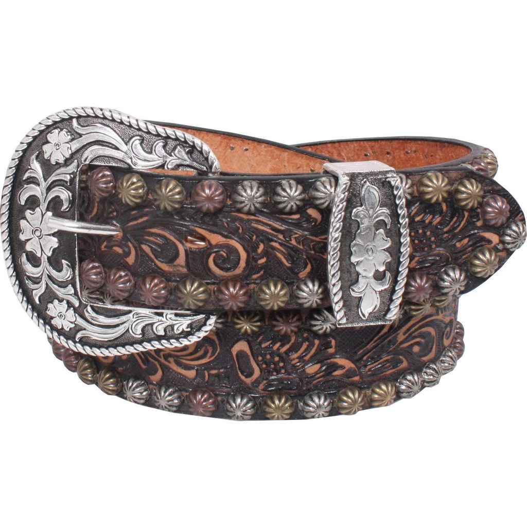 B757 - Brown Vintage Tooled Belt Belt