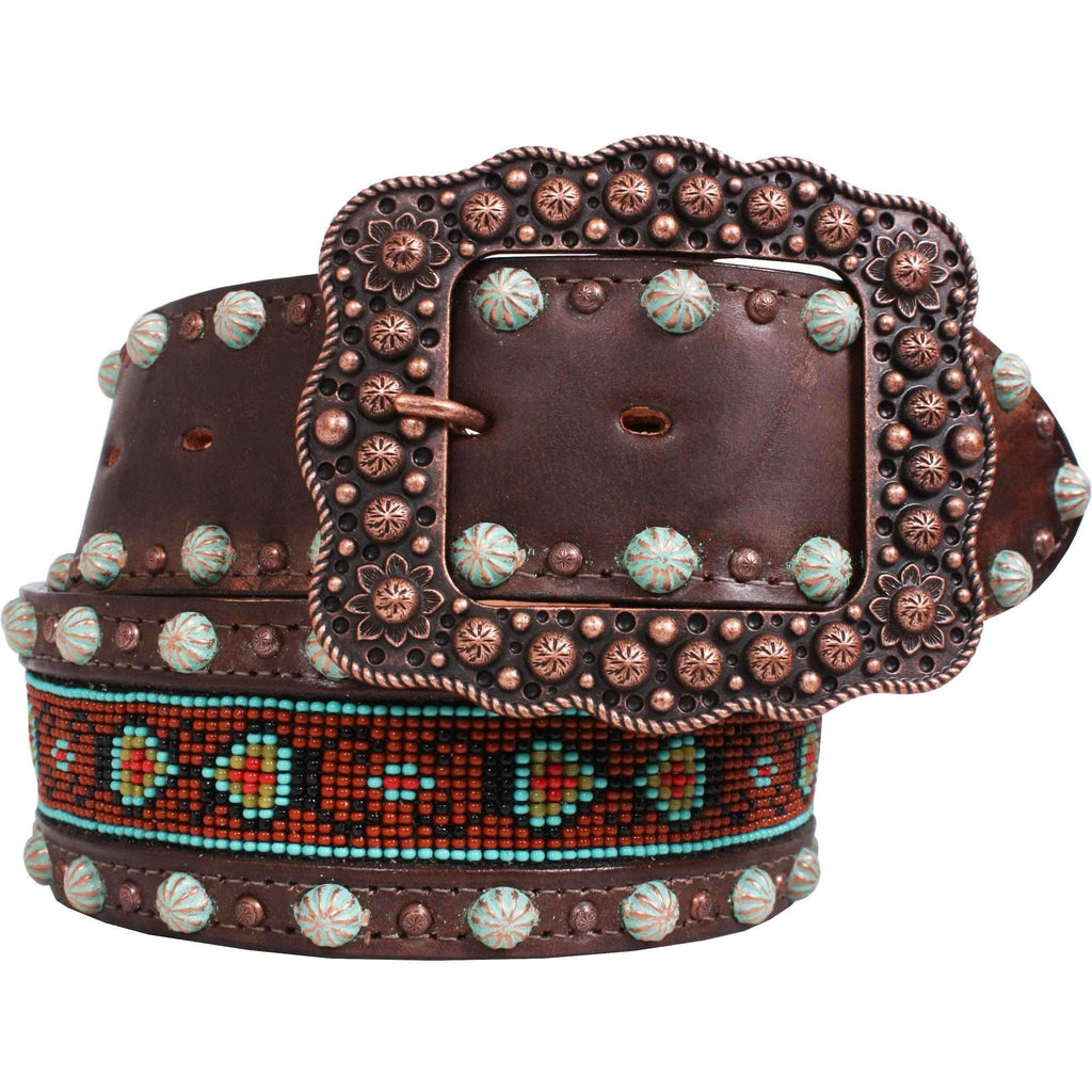B772 - Brown Vintage Beaded Belt
