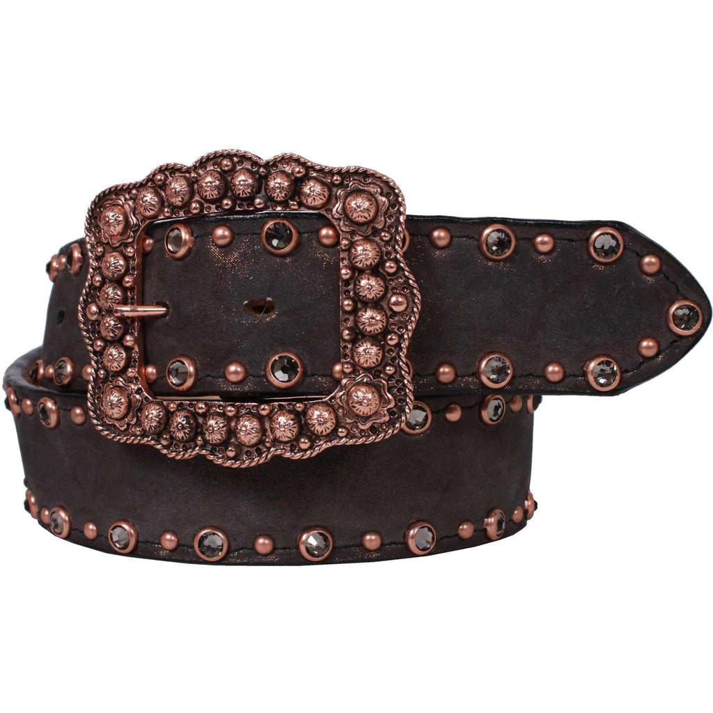 B781 - Grand Prairie Black Crystal Belt Belt