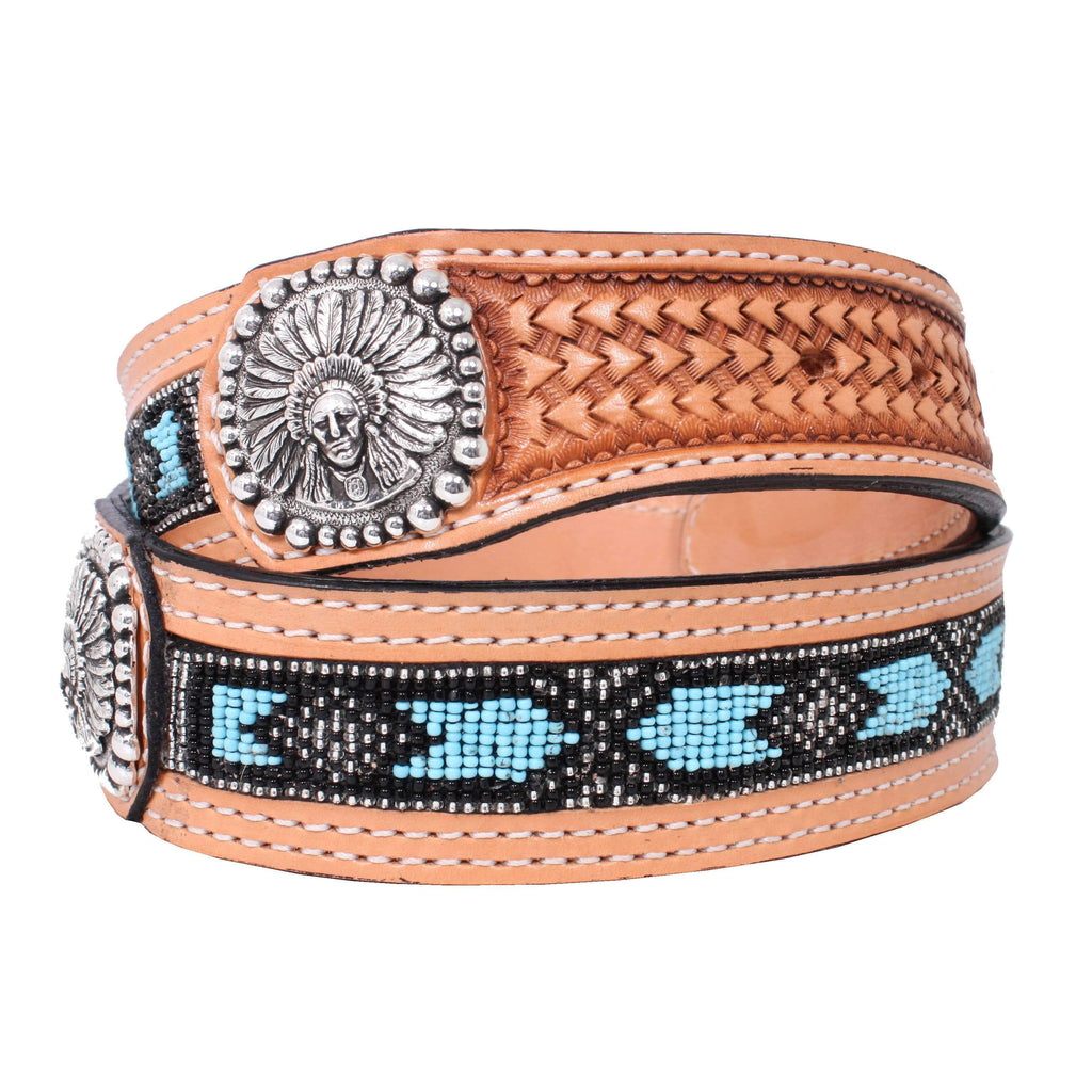 B787 - Natural Leather Beaded Inlay Belt