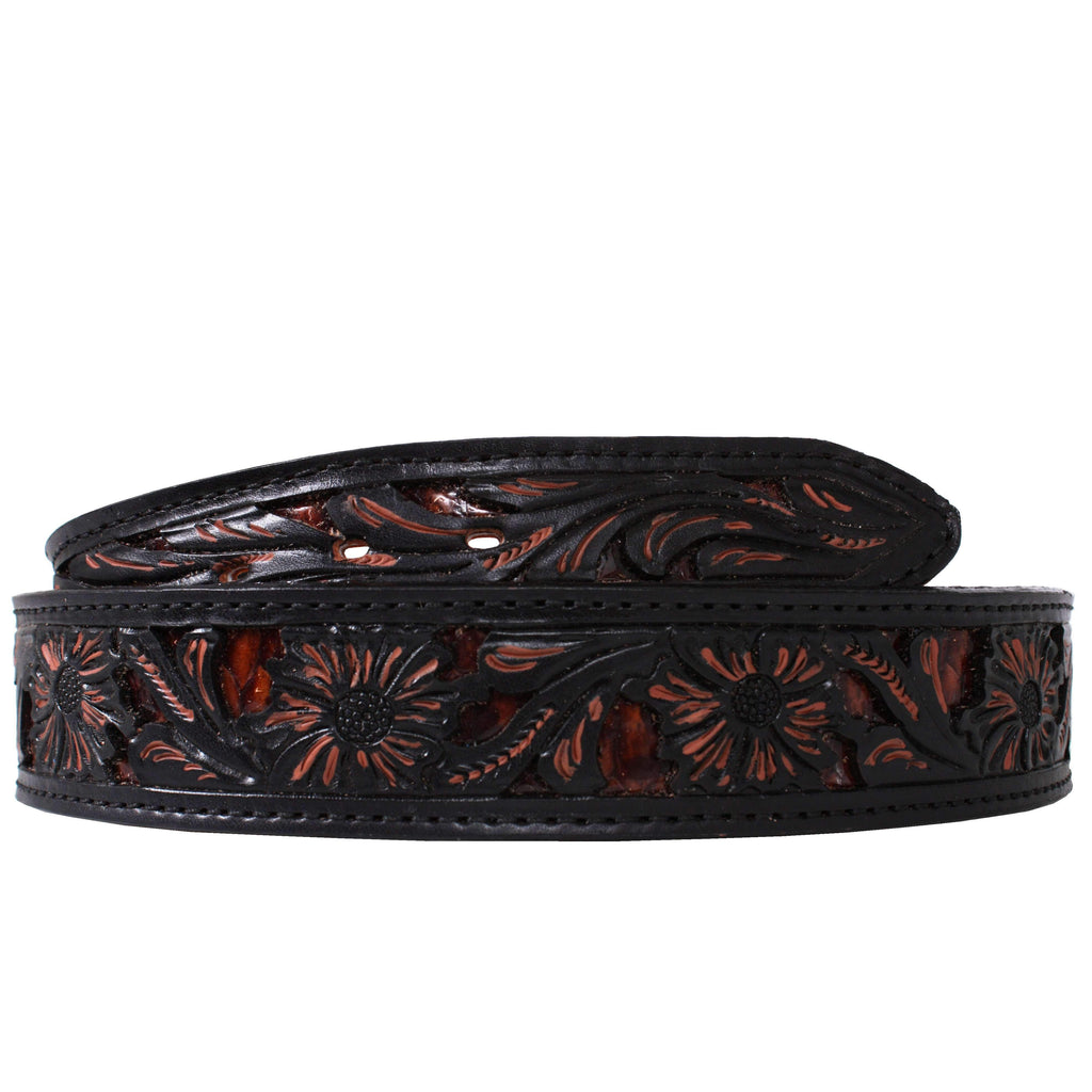 B791A - Floral Tooled Inlayed Belt