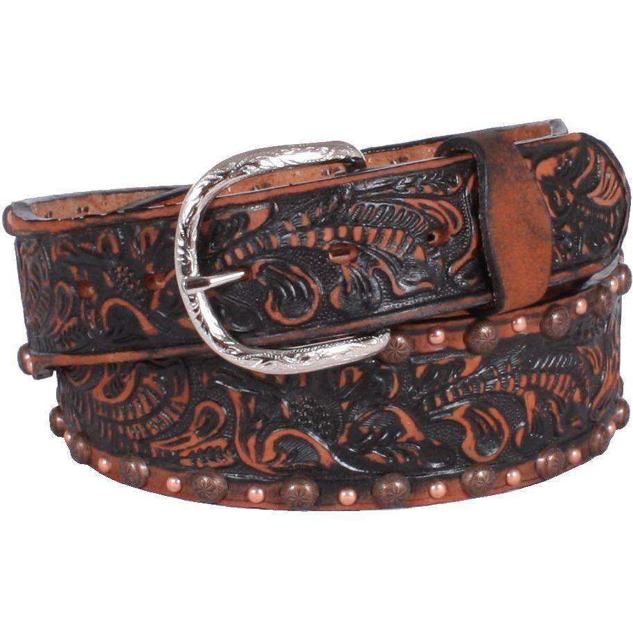 B818 - Black Vintage Chestnut Tooled Belt