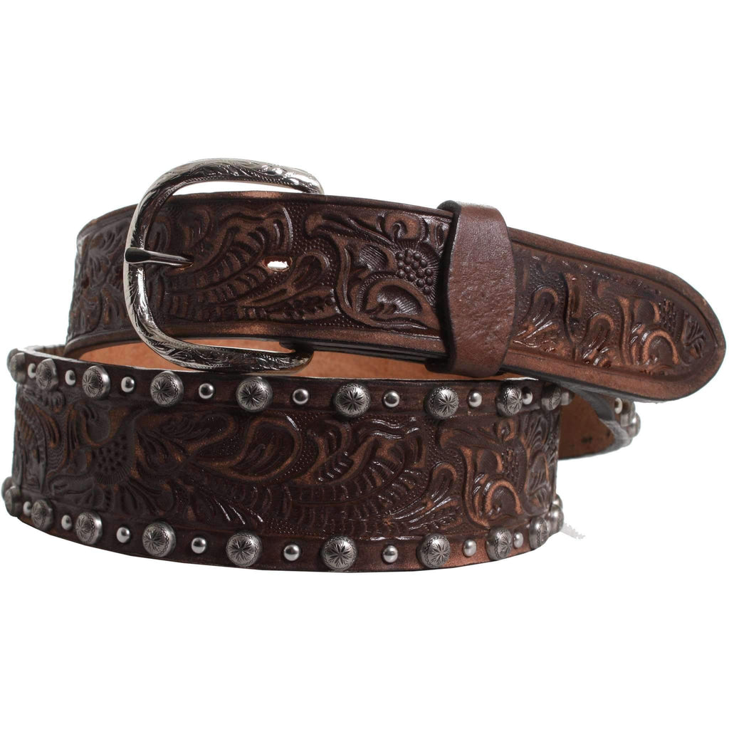 B824 - Tapered Brown Vintage Floral Tooled Belt