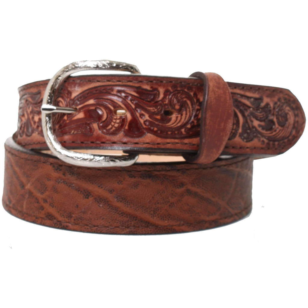 B860 - Vintage Brown Elephant Print and Whirlwind Tooled Belt