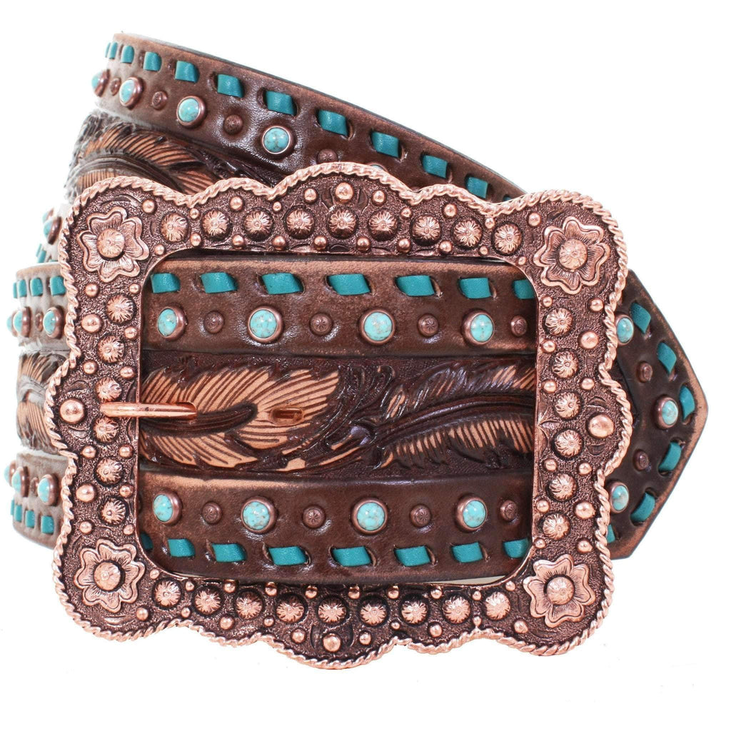 B885 - Brown Vintage Tooled Belt Belt