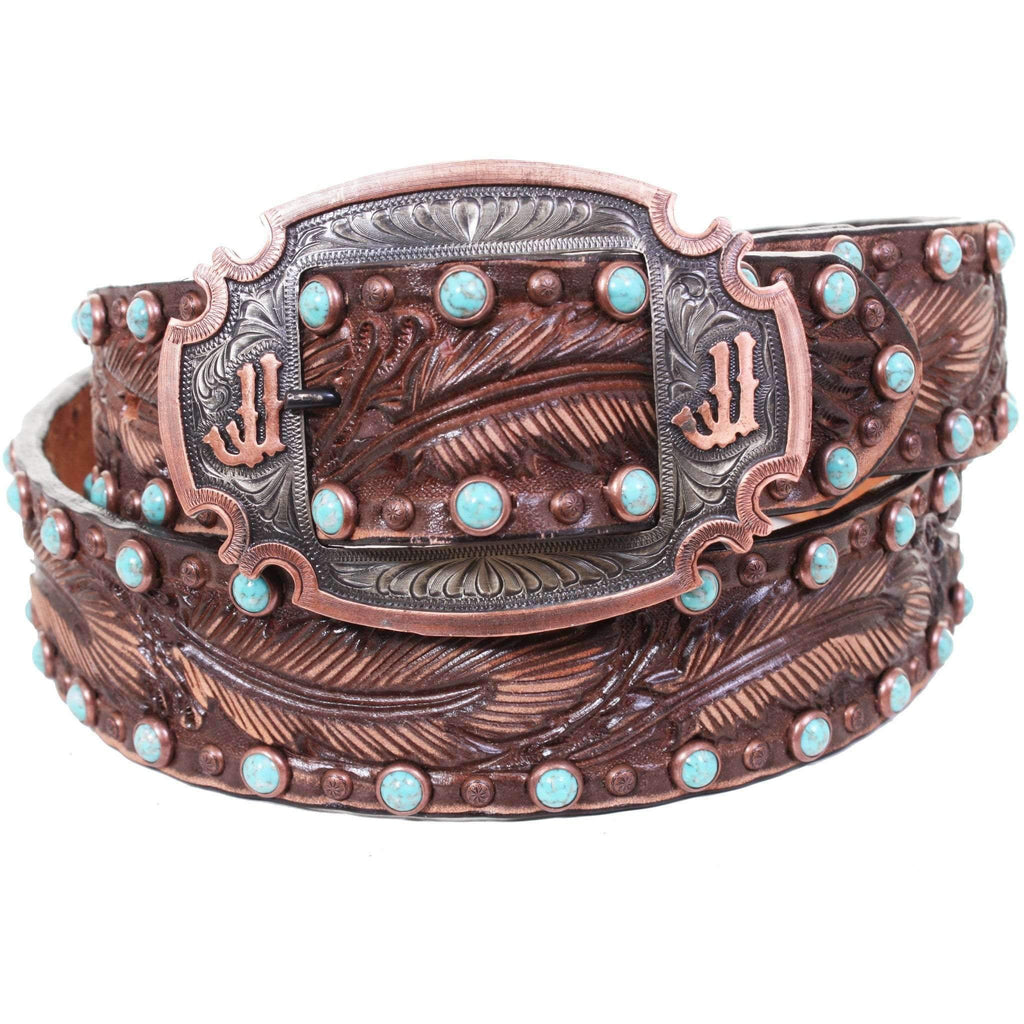B887 - Brown Vintage Feather Tooled Belt Belt