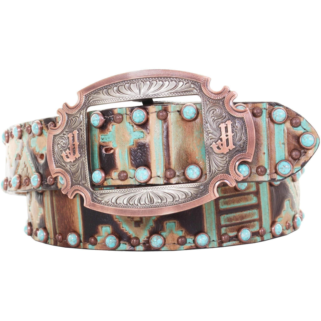 B895 - Navajo Turquoise and Brown Leather Belt