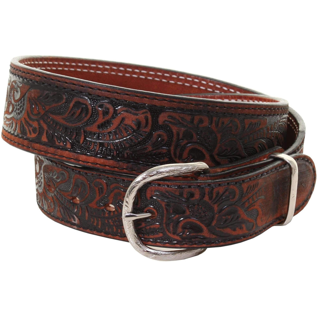 B933 - Black Vintage Tooled Belt
