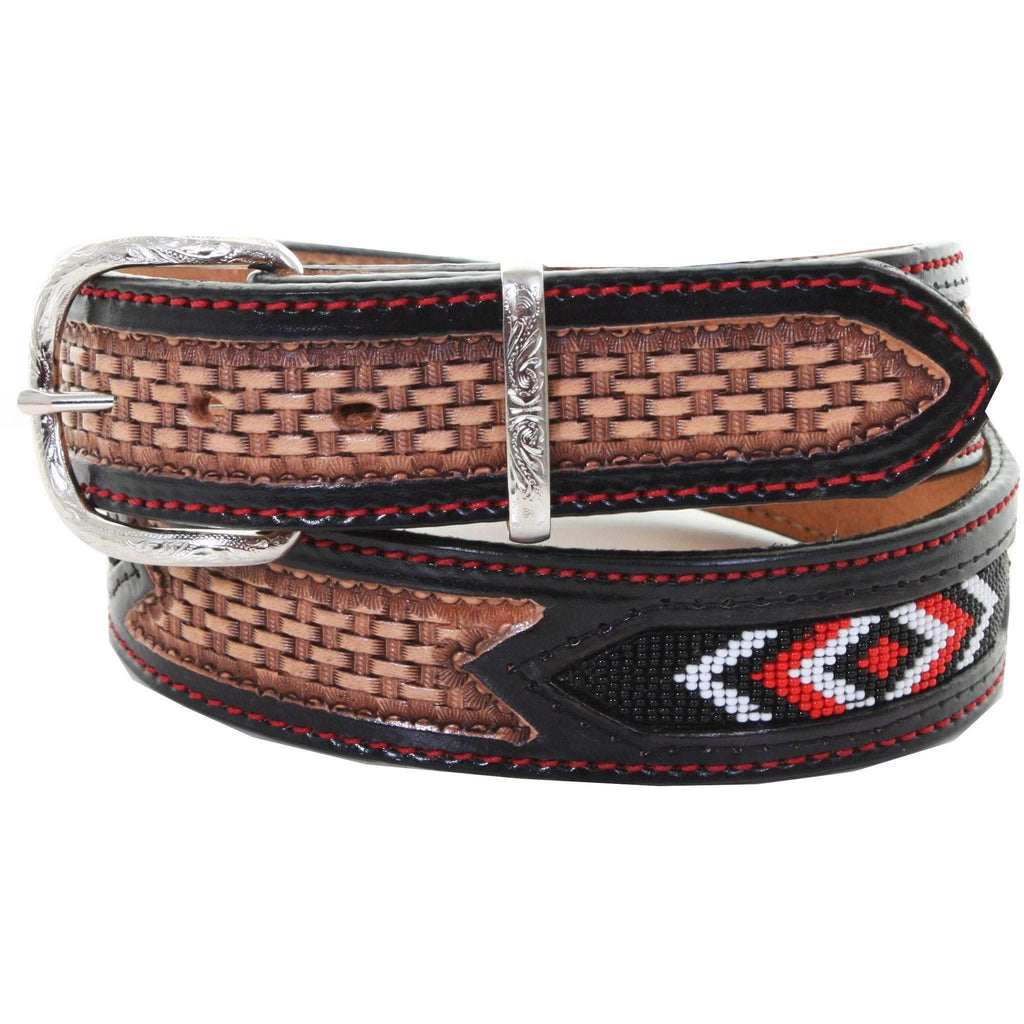 B958 - Natural Leather Beaded Belt