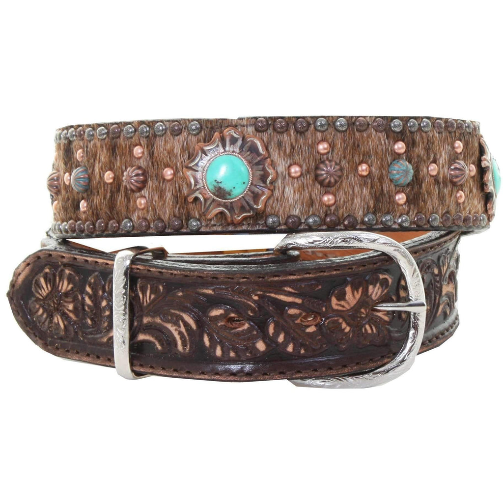 B959 - Brindle Hair Studded Tooled Belt