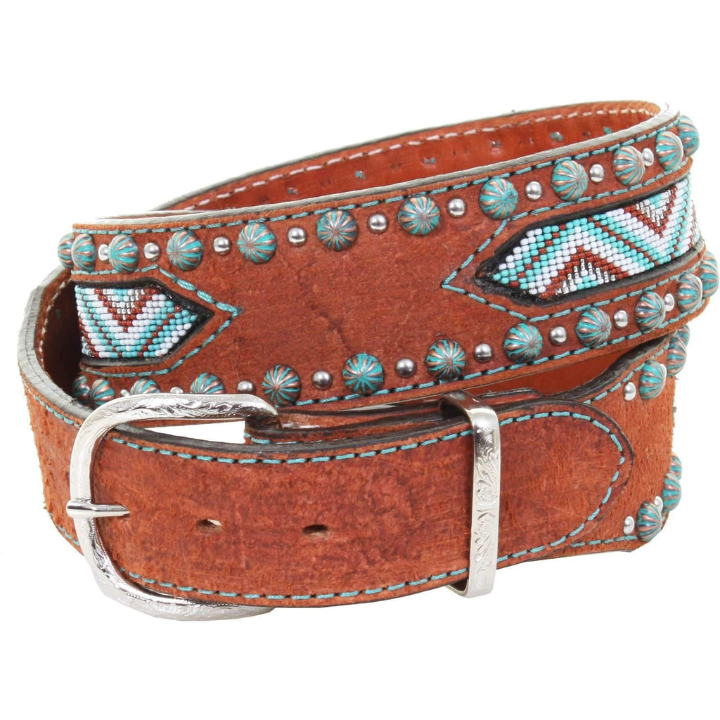 B978 - Chestnut Rough Out Beaded Belt Belt