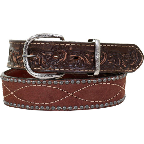 B996AB - Brown Rough Out Tooled Belt