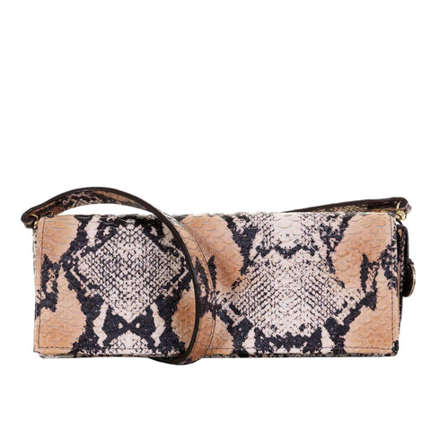 BCH52 - Natural Python Print Western Buckle Clutch