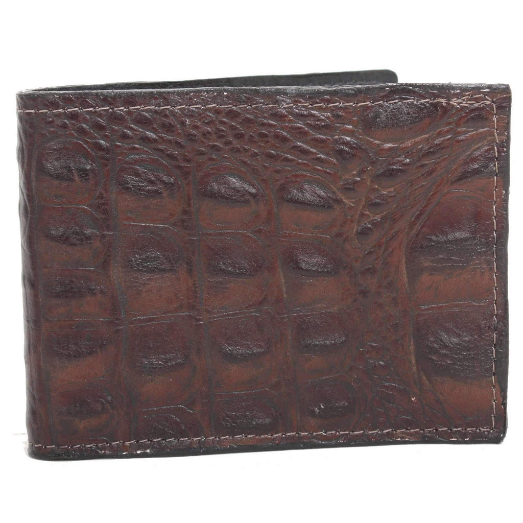 BF05 - Brown Gator Print Mens Bifold Wallet