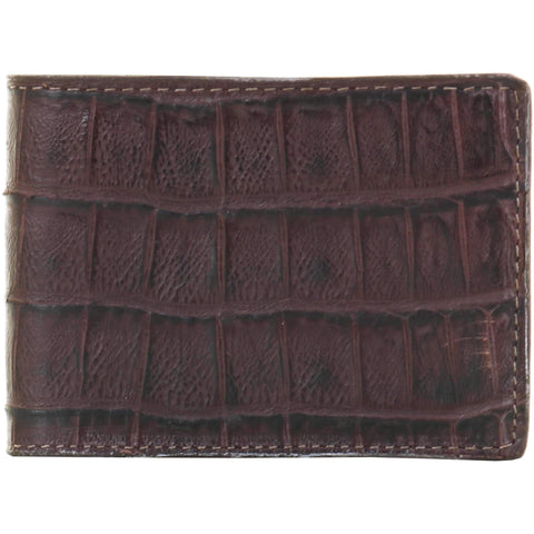 Bf43 - Knife Tail Brown Gator Print Bifold Wallet Wallet