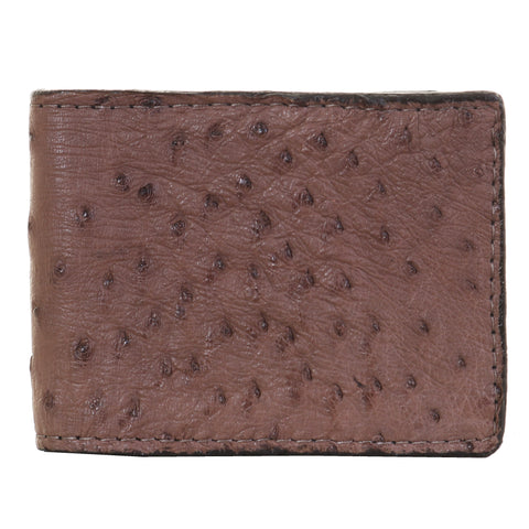 Bf50 - Light Brown Ostrich Print Bifold Wallet Wallet