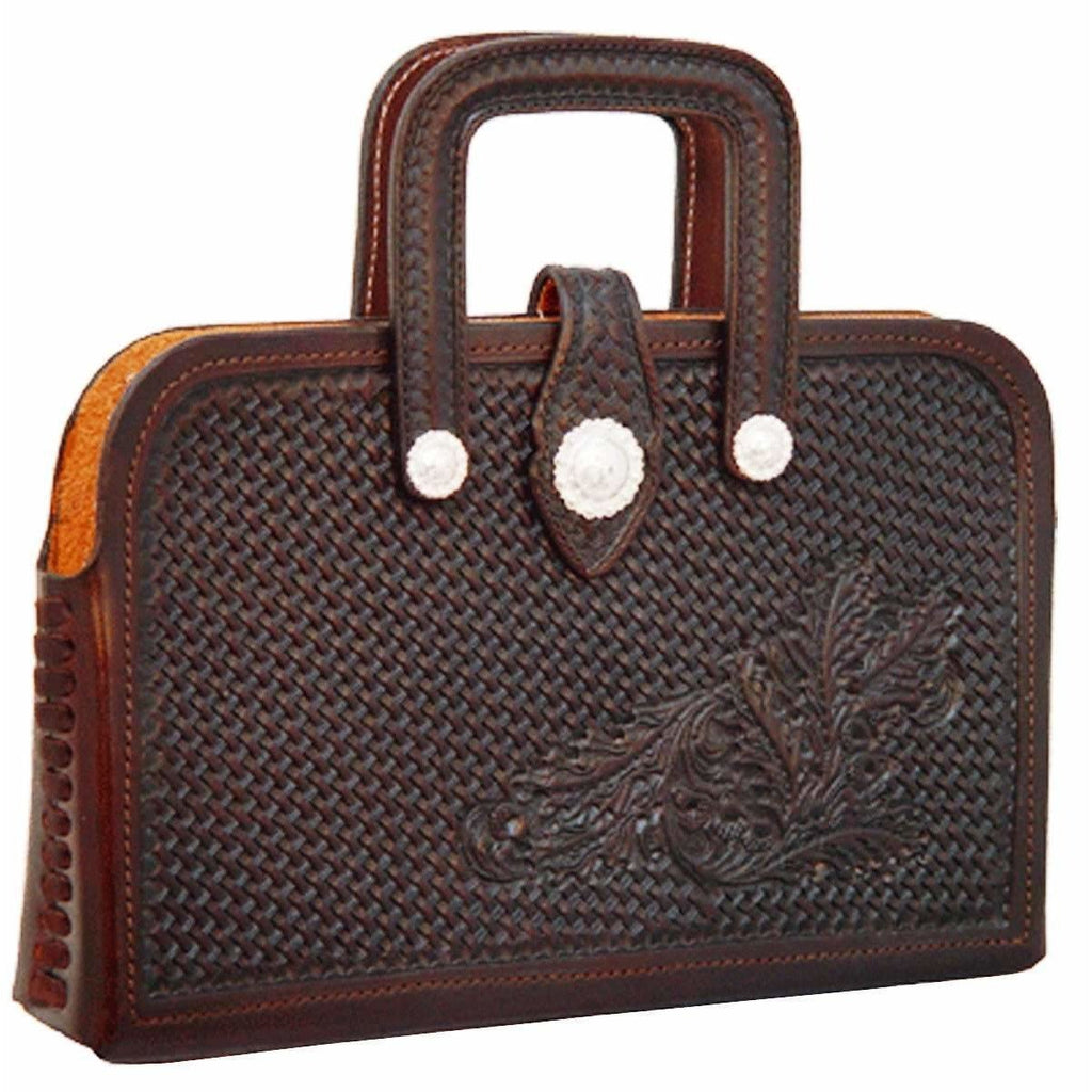 Briefcase04 - Basketweave Tooled Brown Briefcase Accessories