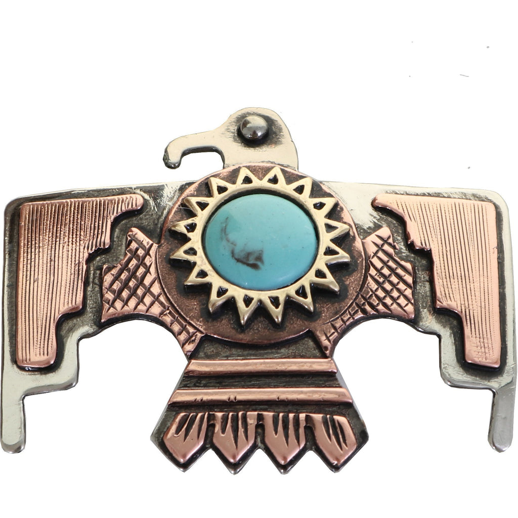 C1568 - Copper Thunderbird Concho With Turquoise Stone
