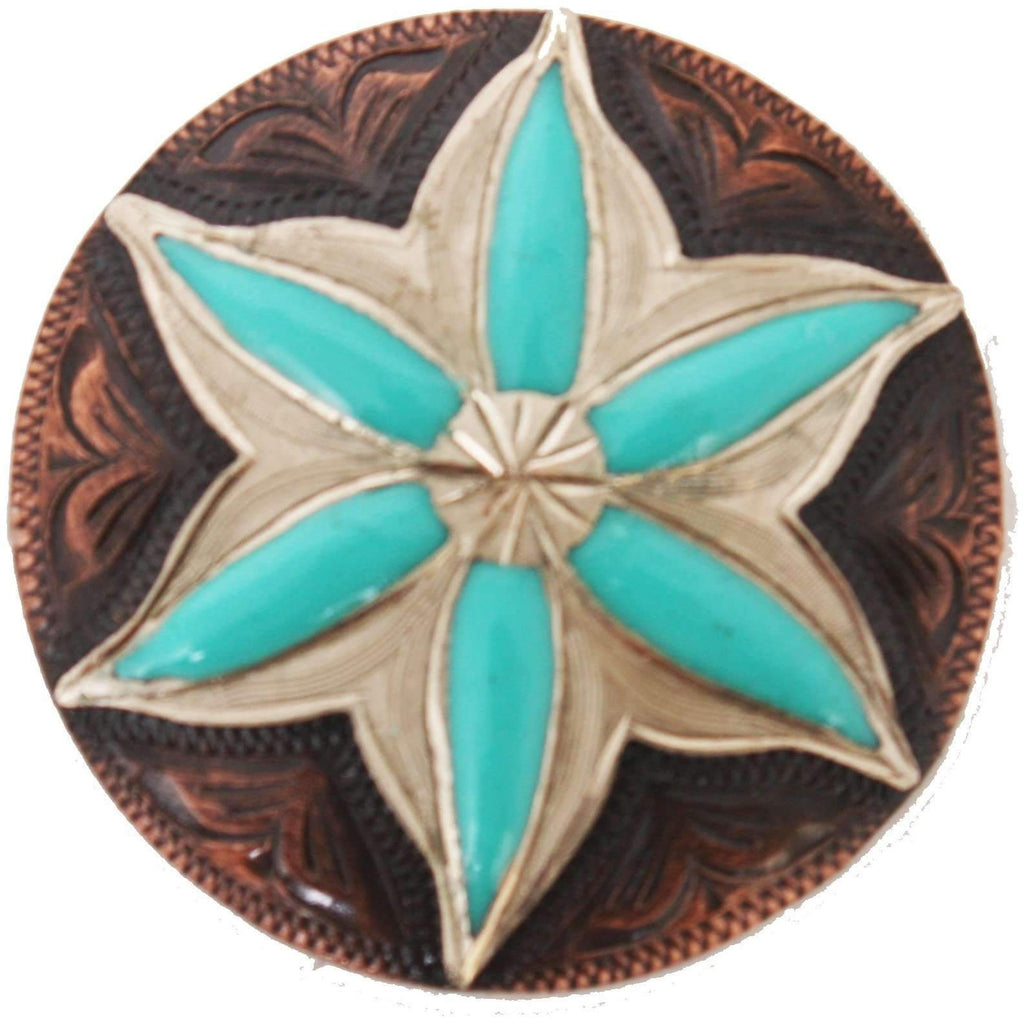 C982 - Copper and Turquoise Flower Concho