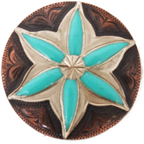 C982 - Copper And Turquoise Flower Concho Concho