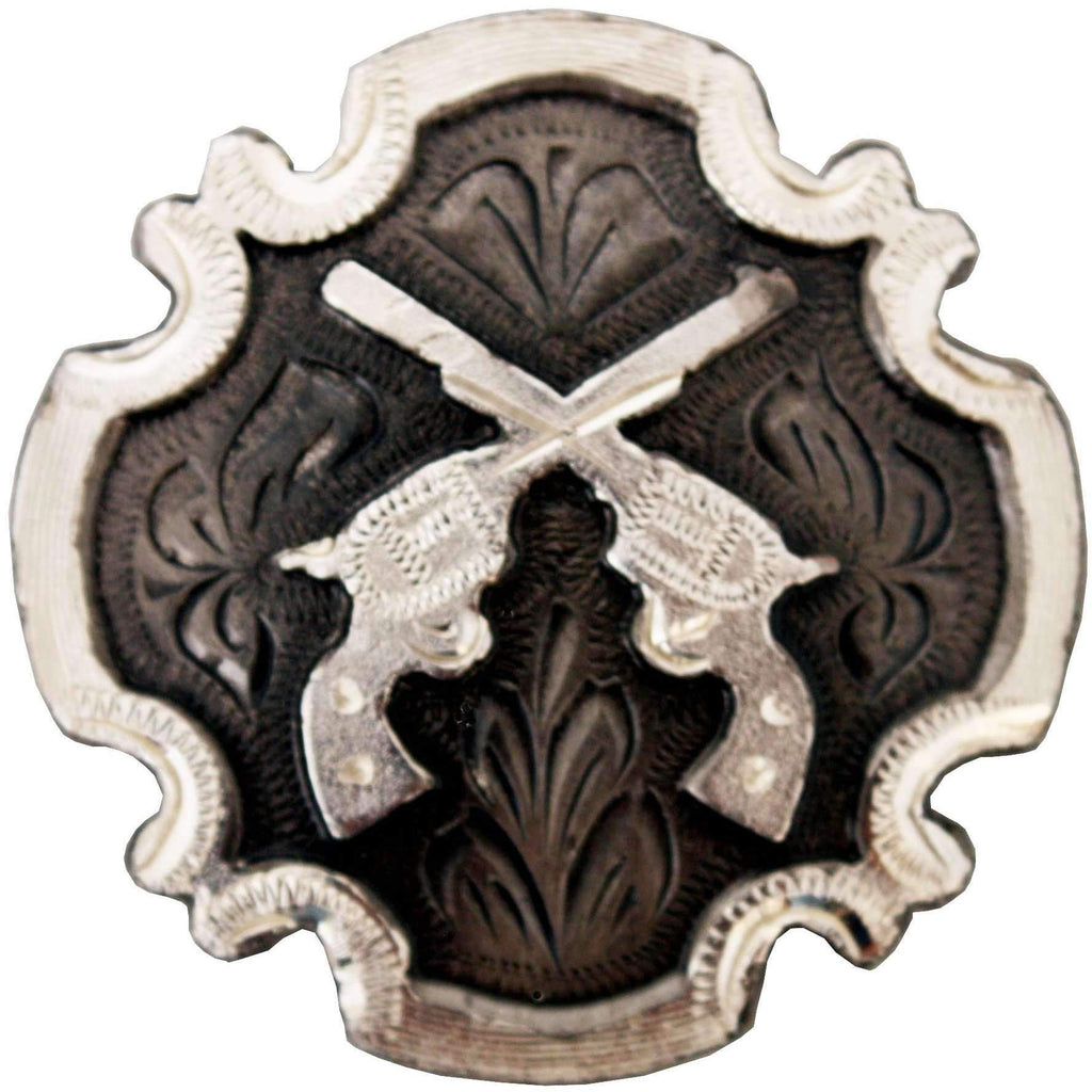 C988 - Antique Silver Cross Pistols Concho Concho