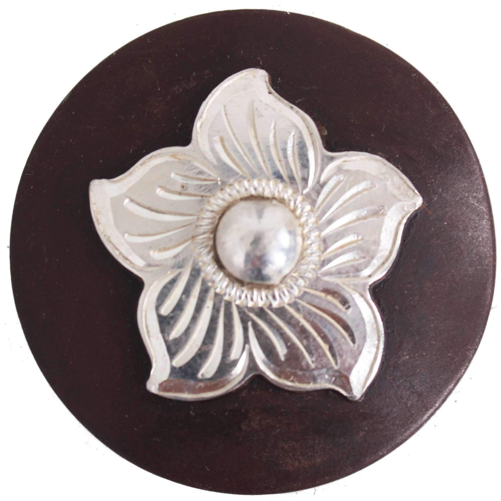 C998 - Pozzi Flower In Sterling, Overlaid On Brown Iron Concho