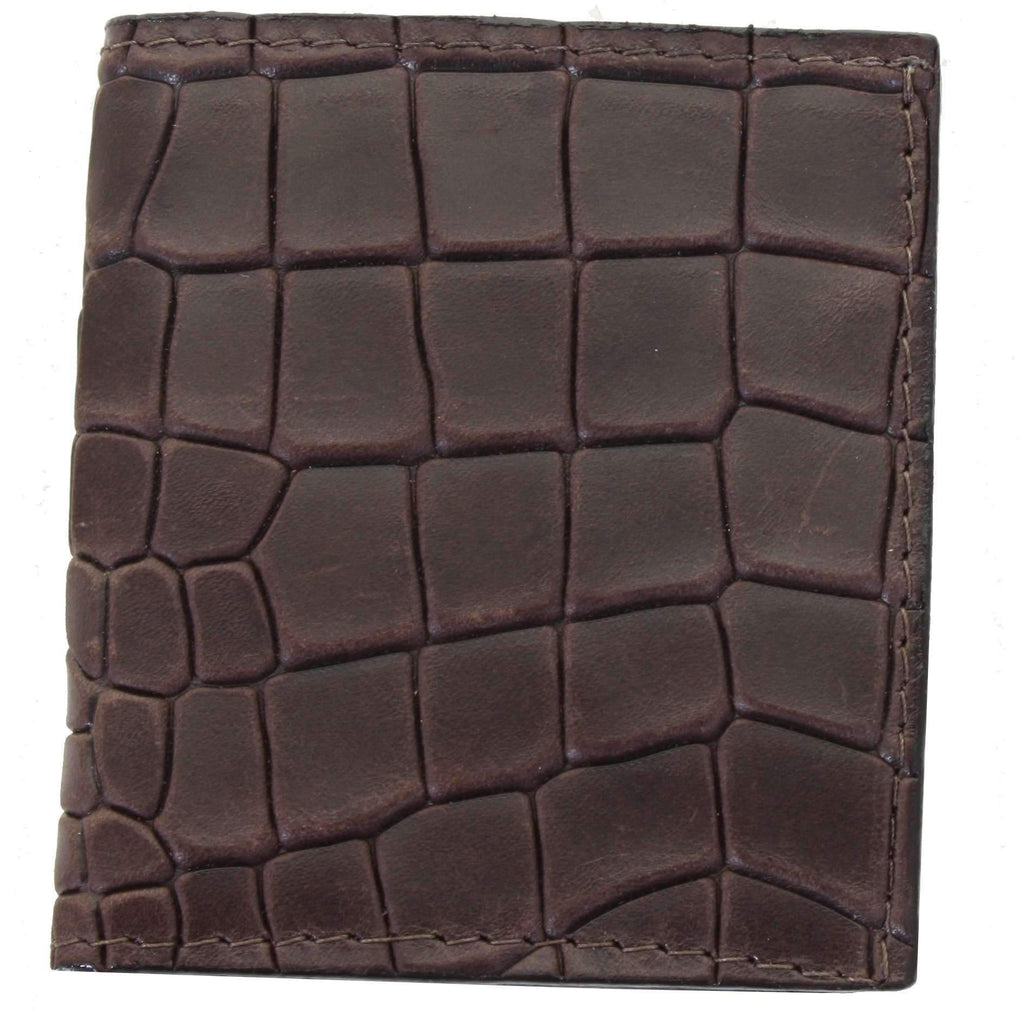 CCW08 - Brown Diamond Back Crocodile Print Credit Card Wallet
