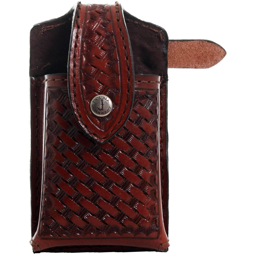 Cpc48 - Chestnut Basket Weave Tooled Cell Phone Holder Accessories