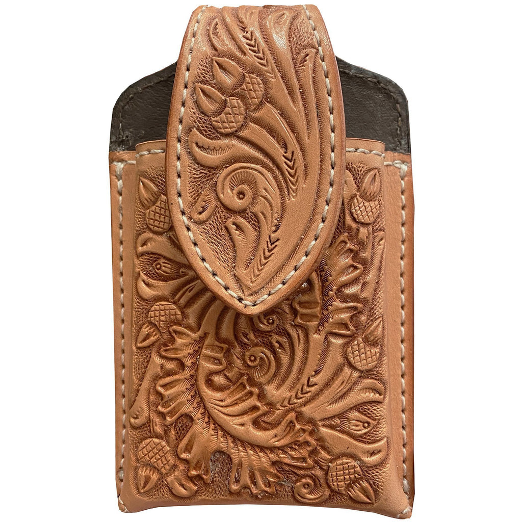 CPC75 - Natural Leather Tooled Cell Phone Holder