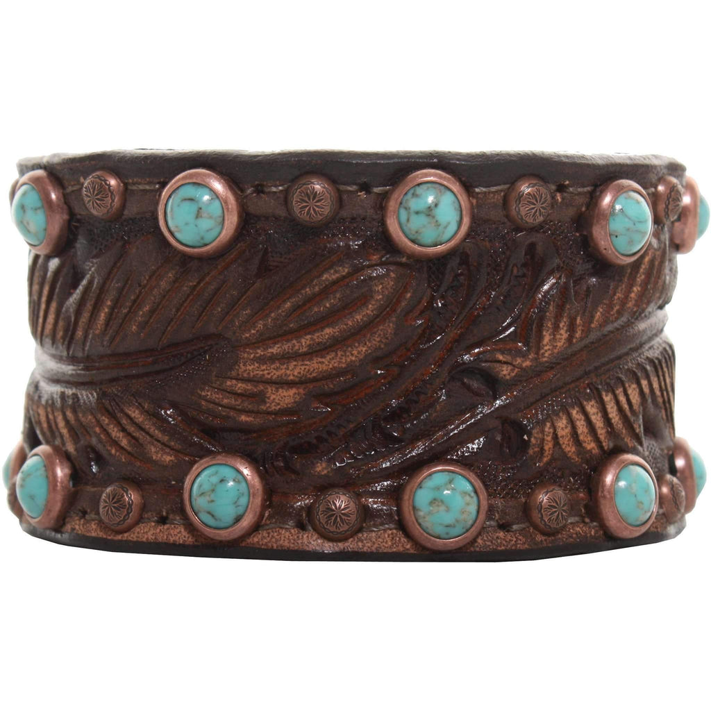 Cuf11/201 - 1 1/2 Brown Vintage Tooled Cuff Jewelry