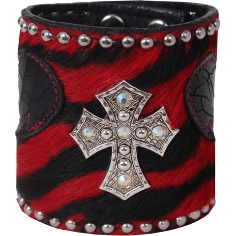 Clearance - 3 Red Zebra Hair Cuff Cuf317