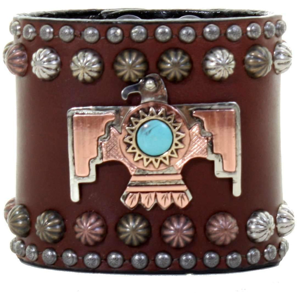 Cuf336 - 3 Gold Rush Brown Thunderbird Cuff Jewelry