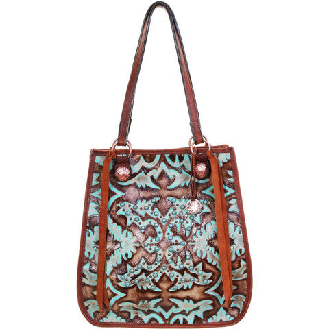 Db69 - Turquoise/brown Laredo Doctors Bag Handbag