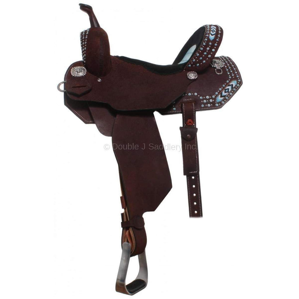 Brown Roughout Beaded Pozzi Pro Barrel Racer. MATCHING TACK H663 AND BC634 AVAILABLE