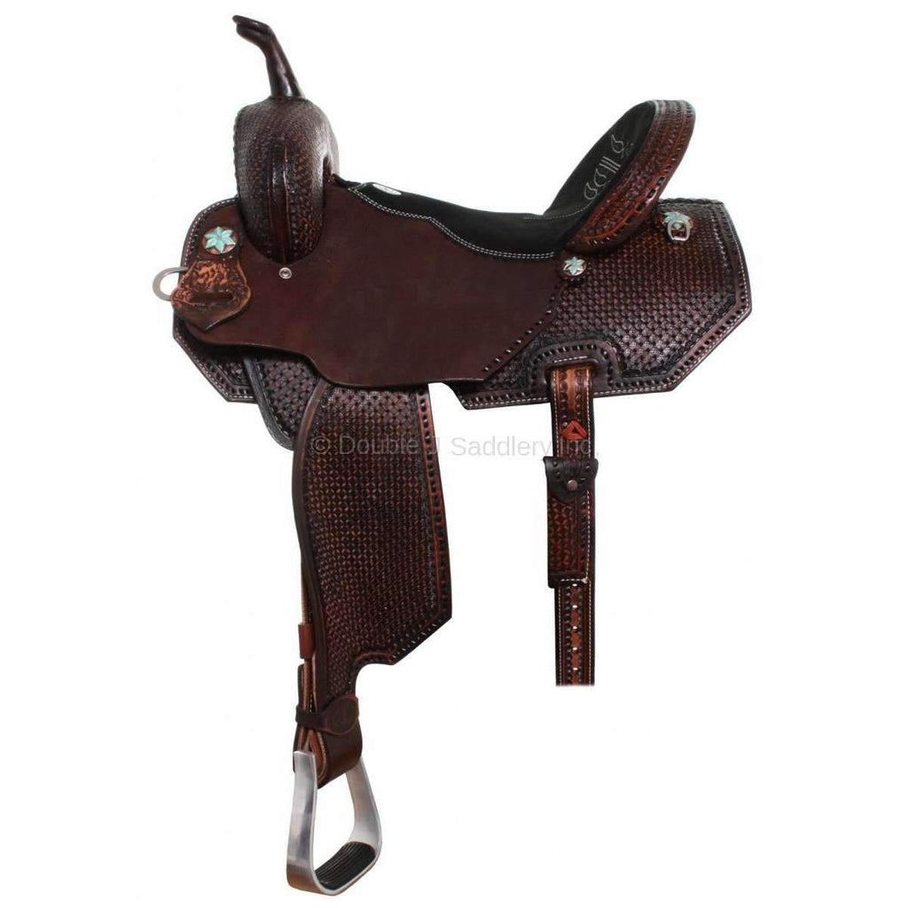 Brown Vintage Tooled Pozzi Pro Barrel Racer. MATCHING TACK H668 AND BC639 AVAILABLE