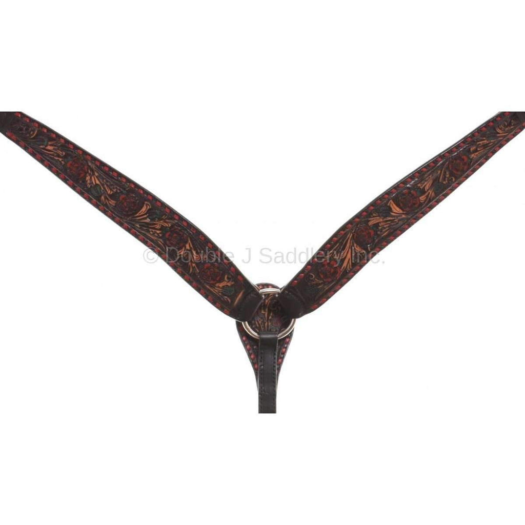 Black Vintage Tooled and Water Color Painted Breast Collar