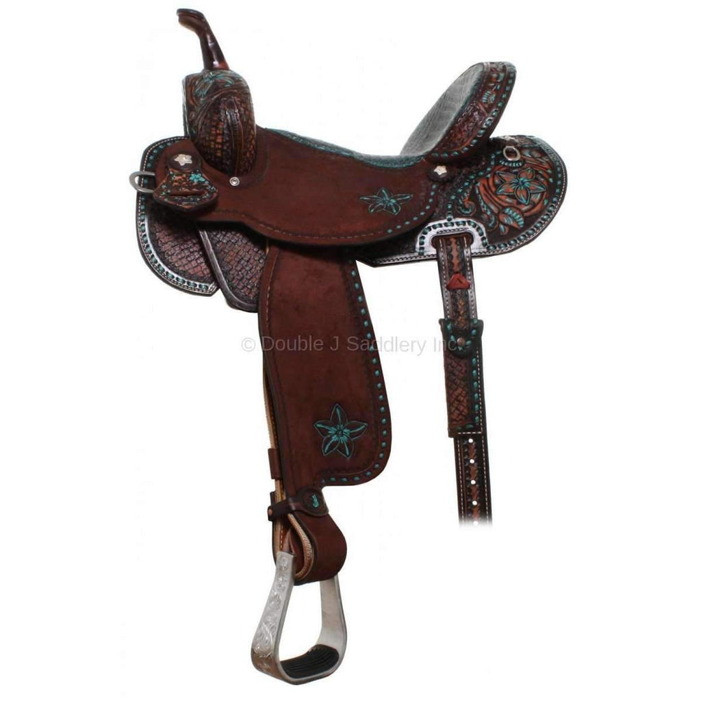 Brown Vintage Brittany Pozzi Pro Barrel Racer Saddle. MATCHING TACK H684 AND BC659 AVAILABLE