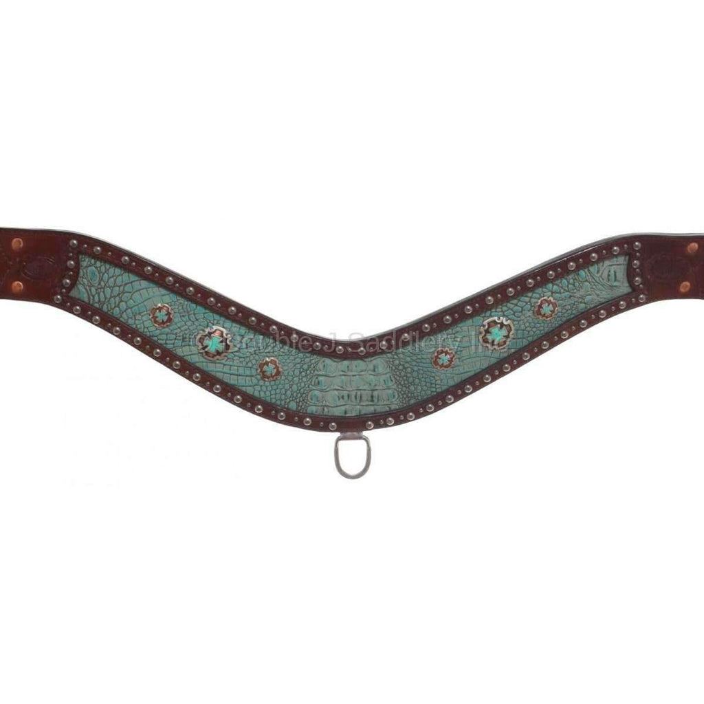Brown Leather, Turquoise Gator Inlayed Breast Collar