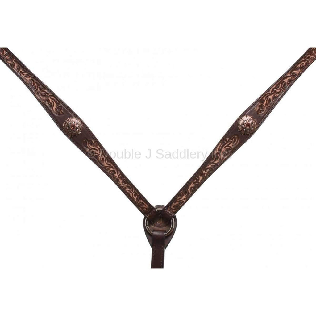 Brown Vintage Hand Tooled Breast Collar