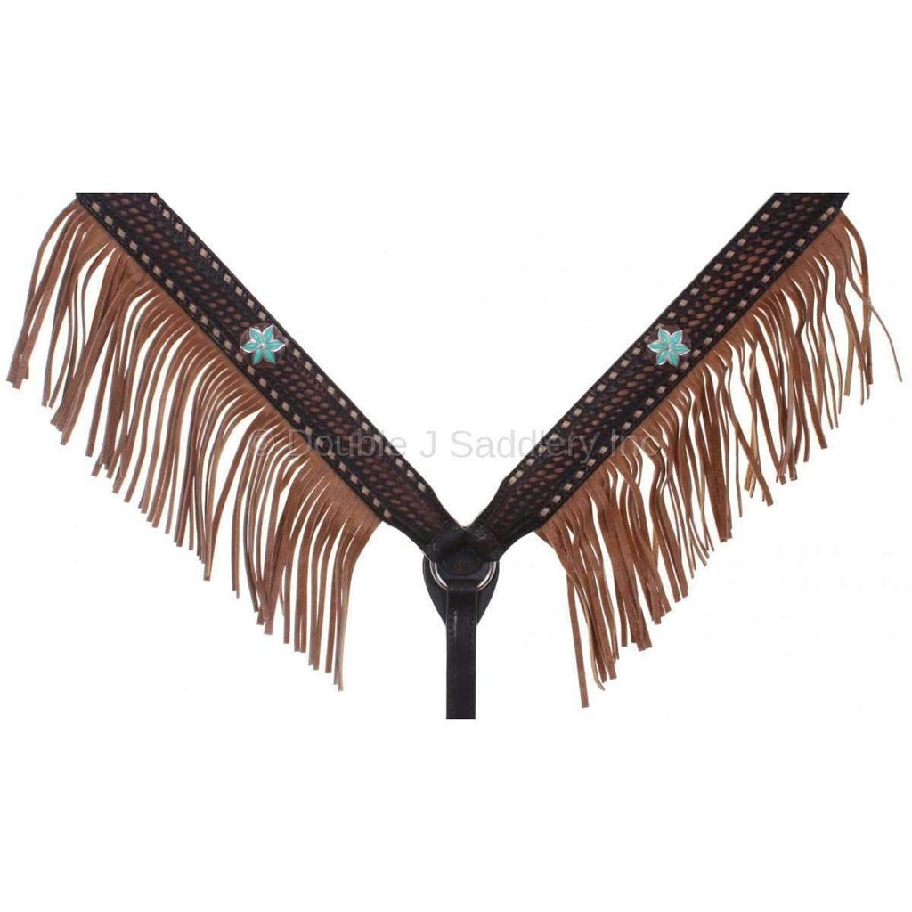Brown Vintage Breast Collar With Buckstitch & Fringe
