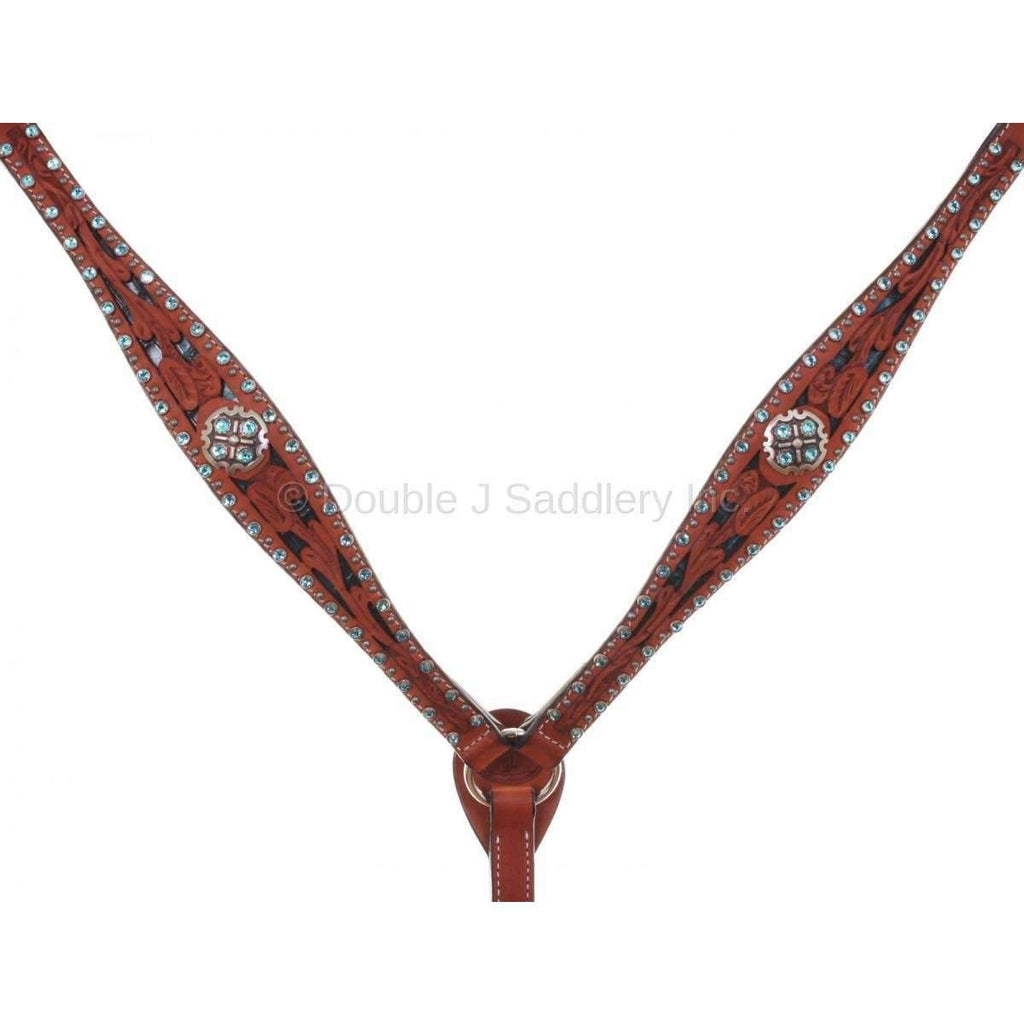 Cognac Leather Inlayed Breast Collar