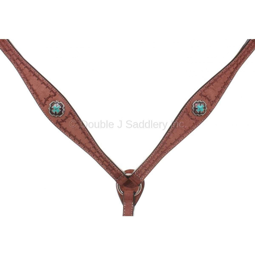 Cognac Rough Out Breast Collar with Barbwire Border Tooling