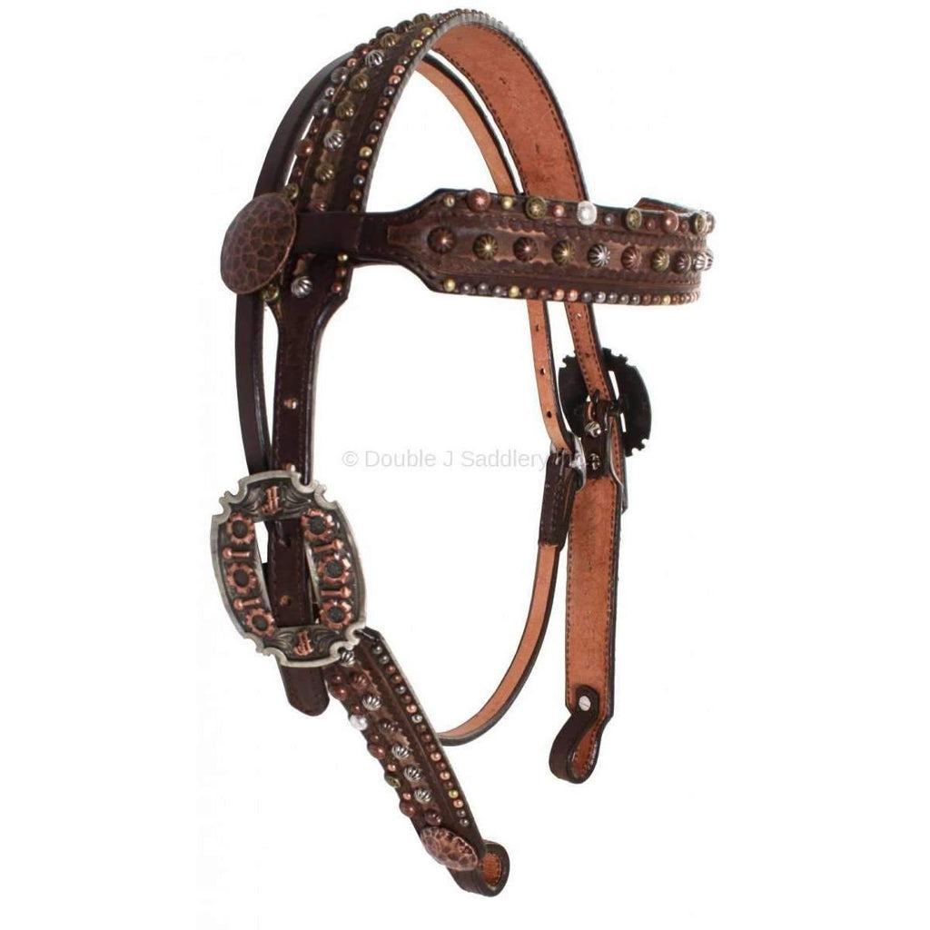 H687 - Brown Vintage Studded Headstall Tack