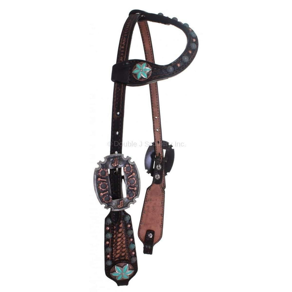 Brown Vintage Single Ear Tooled Headstall