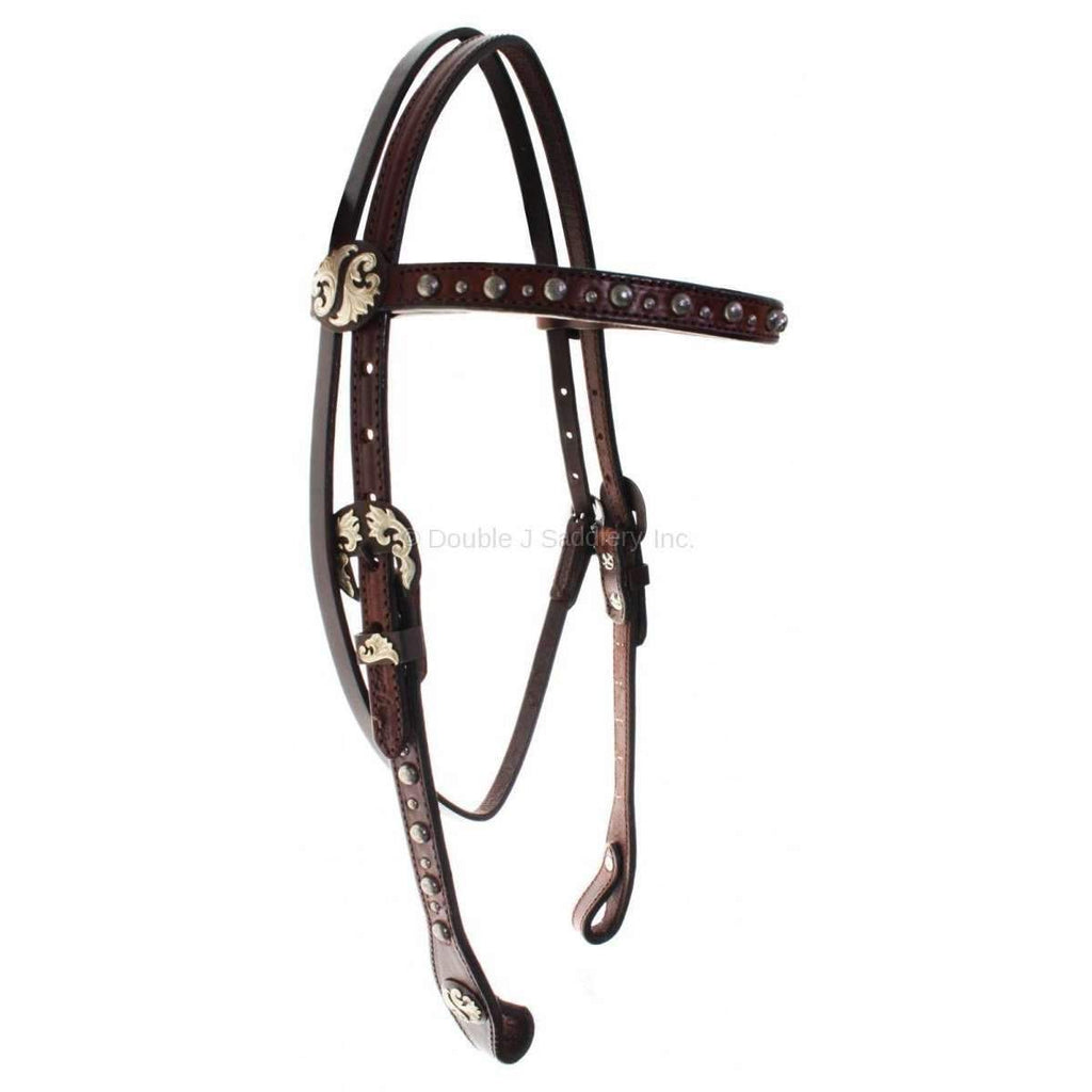 Brown Leather Headstall with Silver Scroll on Brown Iron Conchos