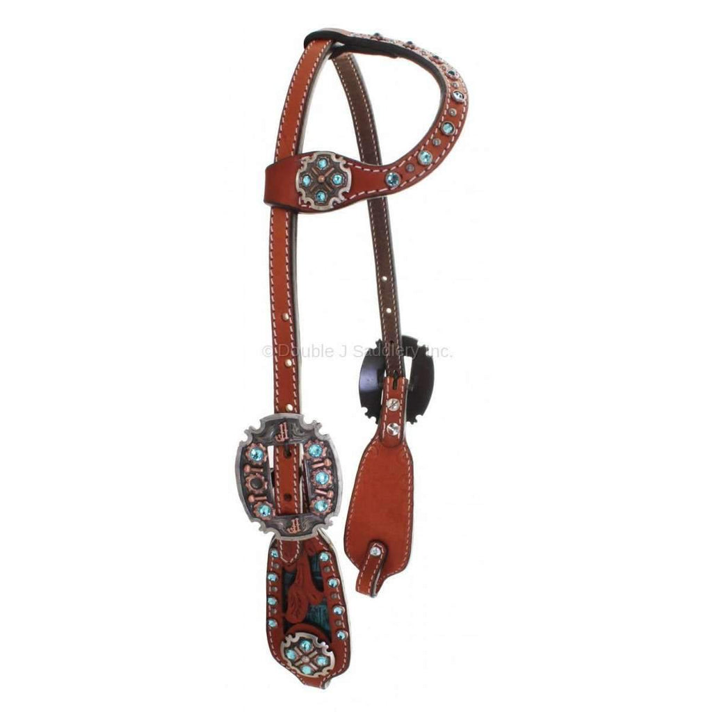 Cognac Leather Single Ear Headstall with Black and Turquoise Gator Inlays