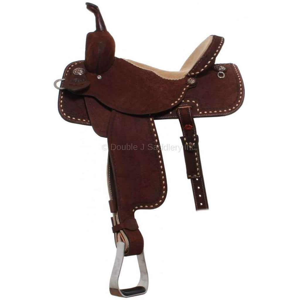 Double J Pro Saddle in Brown Roughout Leather with No Tooling