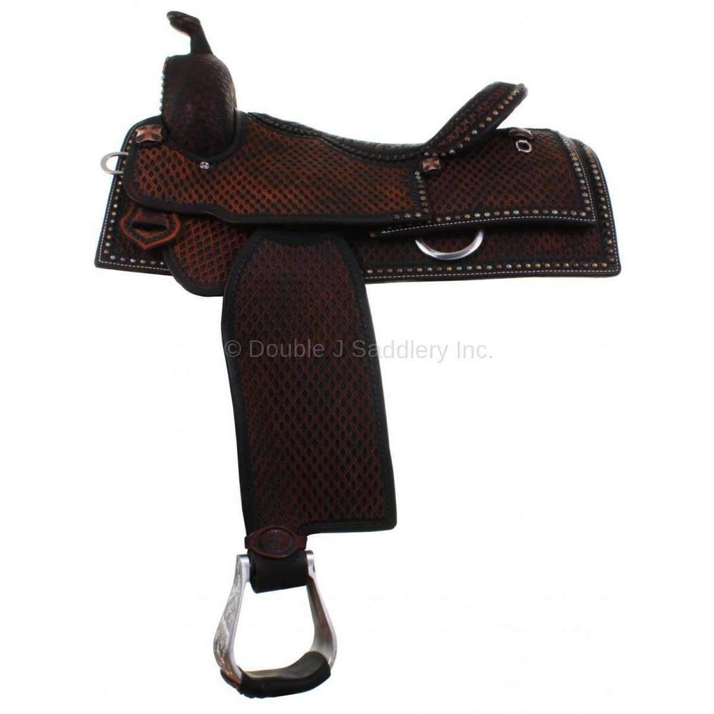 Double J Equitation Saddle in Chestnut Vintage Leather with Full Tooling