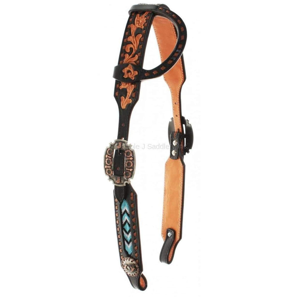Black Background Single Ear Headstall with Natural Floral Tooling