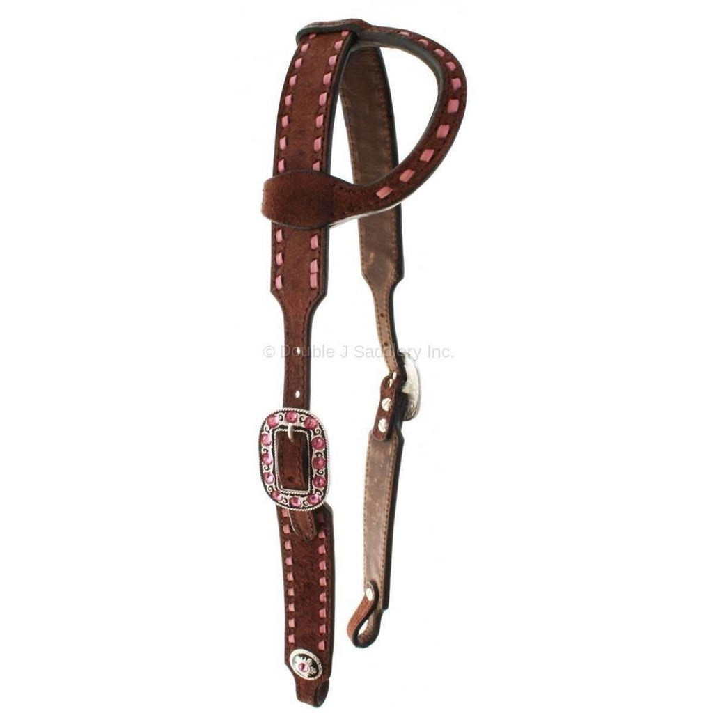 Brown Rough Out Single Ear Headstall with Pink Buck Stitch